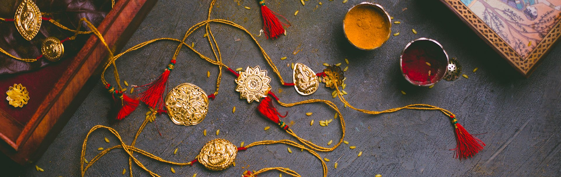 Gold coated silver rakhi's