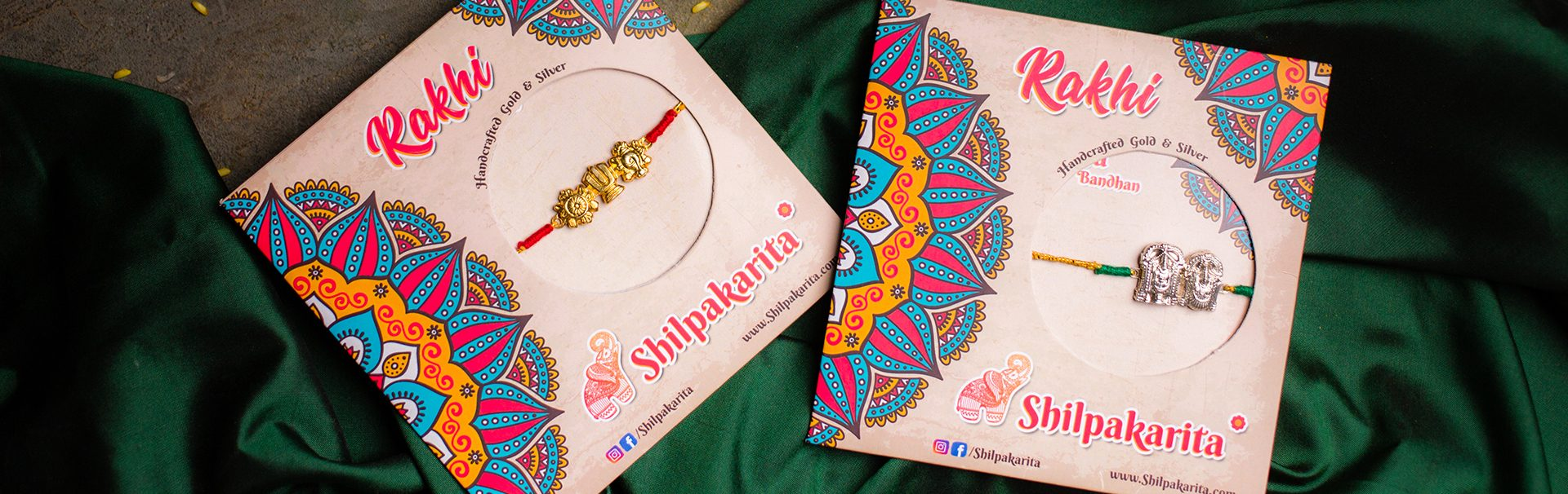 Ishtadevata Silver and Gold coated silver rakhi's